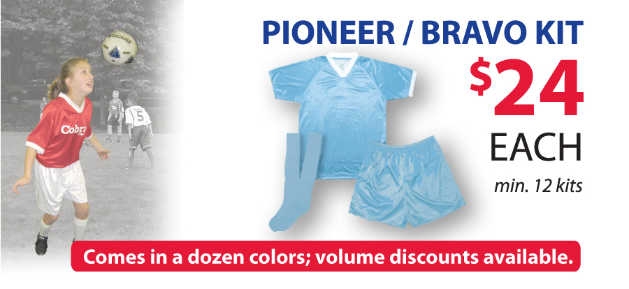 Pioneer jersey, Bravo shorts soccer uniform kit by Code Four Athletics