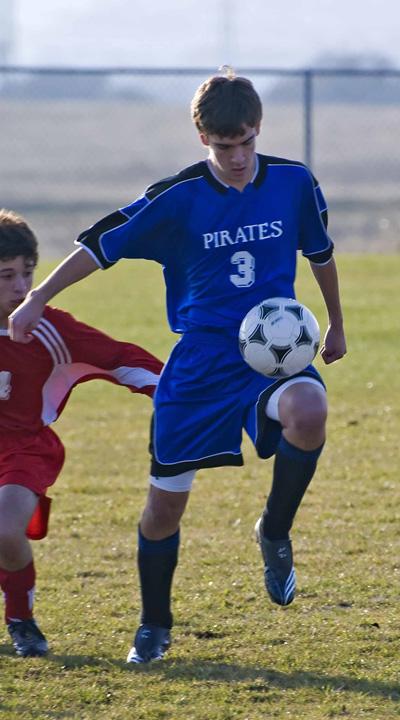 Nova soccer uniform kit in action on soccer player.