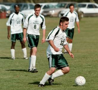 Spitfire soccer jersey on collge soccer team player, by Code Four Athletics.
